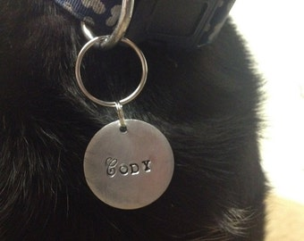 Personalised Pet ID Tag  Round Pet Tag Hand Stamped Dog ID Tag Puppy Tag