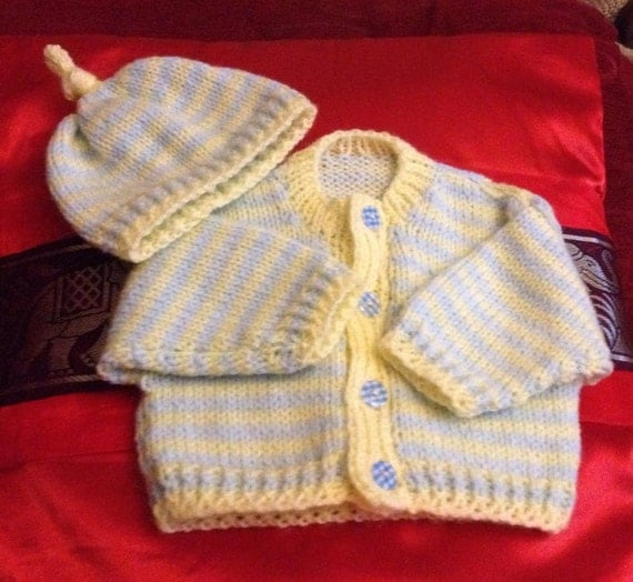 Baby Knitting Pattern stripe Cardi and Matching Beenie Hat and Boots 0-3mths