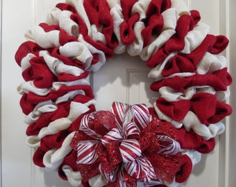 Candy Cane Striped Wreath, Candy Cane Burlap Wreath, Christmas Burlap Wreath, Christmas Decor, Candy Cane Decor, Holiday Wreath, Door Decor