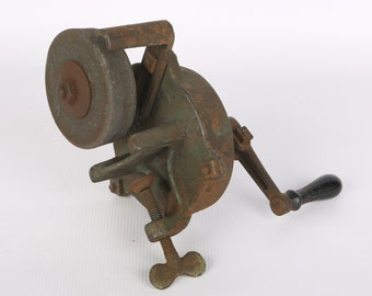 Antique 1911 Pat. Grinding Wheel, Table Mount, Green Paint, Black Handle, Works, Sold by Masbach Hardware Co New York, Will Wear Warranted.