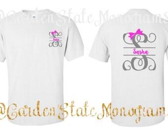 Script, Initial, Name, Short Sleeve, Long Sleeve, Custom, Monogram, Tee Shirt, T-Shirt, Shirt, Monogrammed, Tee