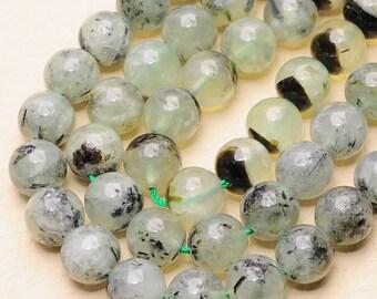 "Natural Prehnite 10 mm round bead 16"" strand (#J1411)"