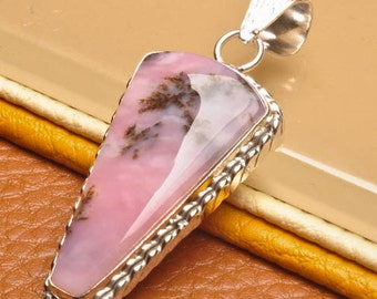 Natural Pink Opal silver plated pendant  (#J1713)