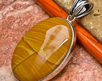 "Natural Tiger Skin Jasper silver plated  2-1/4"" pendant  (#J673)"