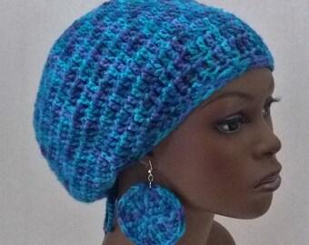 Crochet Tam with Drawstring and Earrings, Medium Rasta Tam, Hat, Cap, Large Slouch Hat Set, Women's Dreadlock Tam and Earrings