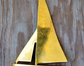 Large Brass Sailboat By Enesco