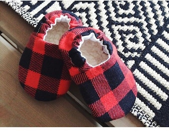 Buffalo Plaid/Check - Baby/Toddler Soft Soled Fabric Shoes