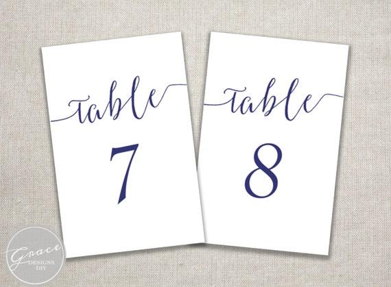 navy blue slant table number template printable instant. Black Bedroom Furniture Sets. Home Design Ideas