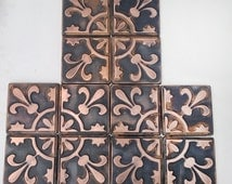 Gothic tiles, set of 12 copper tiles, dark brown/black patina with shiny ornament gothic  design metal, kitchen accent, metal tiles