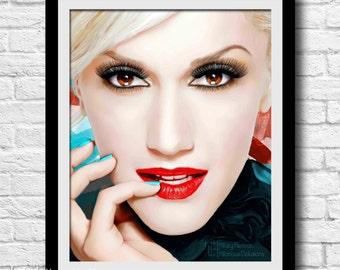 Gwen Stefani Digital Painting Print