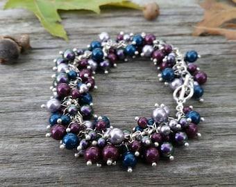 Swarovski Pearl Cluster Bracelet, Berry Pearls, Handmade Jewelery, Cluster Bracelet, Beaded Bracelet, Pearl Bracelet, Berry Swarovski Pearls