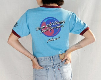 Rare Vintage 70's Hawaii Town and Country Graphic Tee / Original  Vintage 1970's Hawaii Surf Ringer Tee Shirt