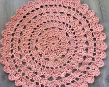 Crochet dolly rug, handmade rug, peach - rond gehaakt vloerkleed, handgemaakt, kant vloerkleed, babykamer kleed