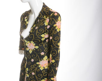 Psychedelic Floral Vintage Jersey Blouse with Crop Tunic Top