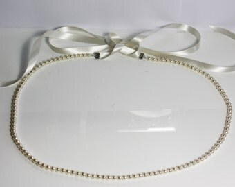 Pearl belt, Wedding belt, pearl belt, pearl bridal belt, thin bridal belt, wedding belt,  necklace belt, pearl wedding sash, wedding dress
