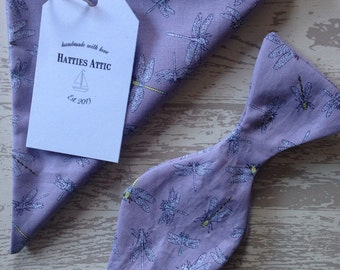 Handmade purple bow tie and pocket square with a dragon fly print