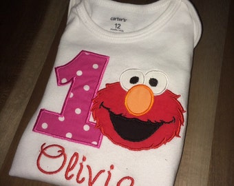 Red happy monster First Birthday Shirt or Onesie : personalized, embroidered, appliqued, name