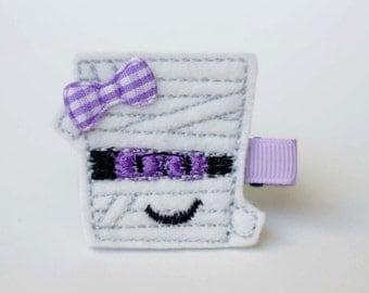 SALE purple Halloween mummy felt embroidered hair clip