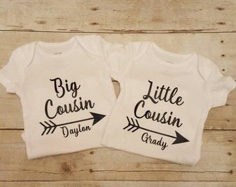 Personalized Big Cousin, little Cousin shirts, matching shirts set, Customized with Name