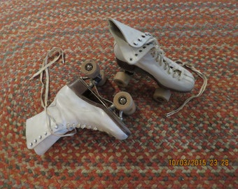 Vintage leather, Chicago indoor roller skates with wooden rollers