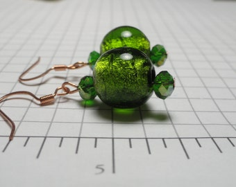 Bright Copper and Green Glass Bead Earrings