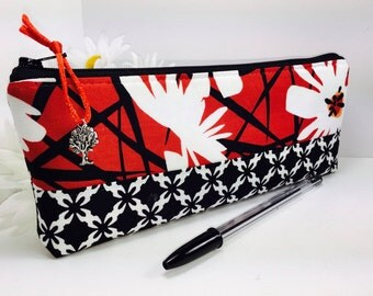 Fancy Pencil Case, Back to School, Mod Flower Pencil Pouch, Long Zipper Pouch