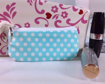 Fabric Lipstick Case, Small Zippered Pouch, Lip Balm Case, Earphones, Coins, USB Case, Keyring Attached, Teal, White Polka Dots