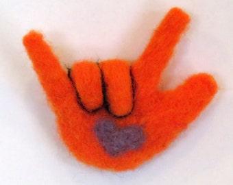 Sign Language Needle Felted I Love You Magnet Orange