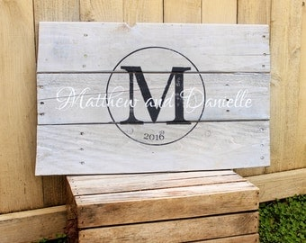 Rustic Large Family Name and est. date monogram hand painted reclaimed pallet wood sign established anniversary Wedding Guest Book