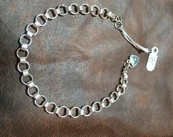 "Sterling Silver 8"" Charm Bracelet"