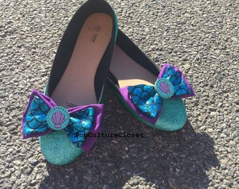 Cute glitter mermaid ballet flats shoes