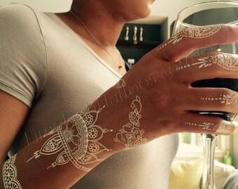 1 Sheet of White Henna Tattoos, Henna Tattoos, White Lace Tattoos, White Tattoos, Bridal Tattoos, Wedding Tattoos, Sunya Tattoo