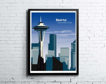 Seattle Skyline Illustration Print, Poster, Art, Wall Art, Typography