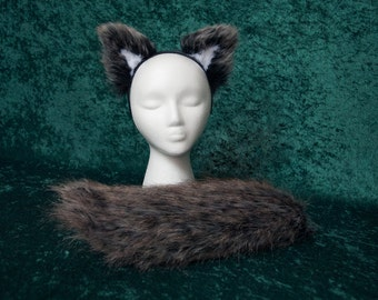 Child's Dark Gray Faux Fur Wolf Tail and Ear Set