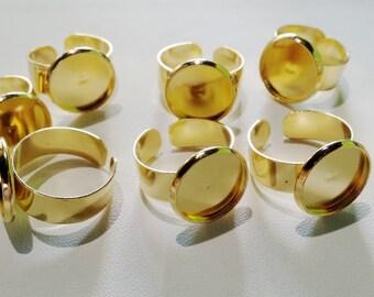 Gold tone adjustable ring 14mm- 4pcs