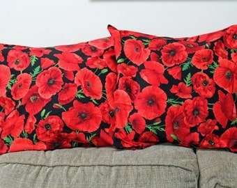 Red Poppy  Pillow Cover, Throw Pillow, READY TO SHIP, Red Pillow,  sofa pillow, cushion , bedroom pillow,  Home Decor, Bright Red Poppy