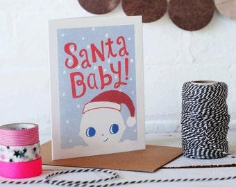 Santa Baby Christmas Card - Risograph