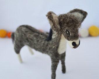 Needle felted Donkey, felt ass, Christmas decoration, needlefelt, needle felting, handmade, felted sculpture, sheep wool