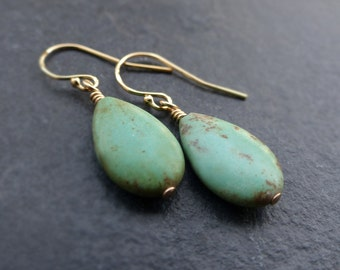 Turquoise earrings, 14K gold filled, sterling silver, turquoise teardrop earrings, turquoise drop earrings