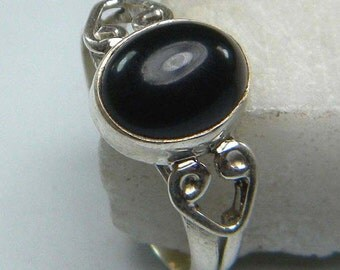 925 Sterling Silver Overlay Black Onyx Stone Ring, Silver Gemstone ring,  Ring Size US 5 6 7 8 9 10 11 12