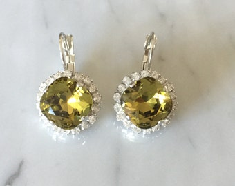 Khaki & Clear Swarovski Crystal Earrings, Silver