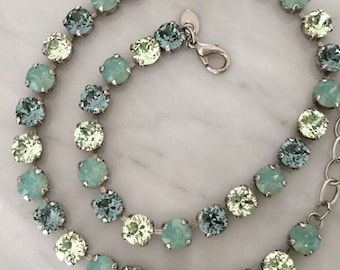 Swarovski Pacific Opal Crystal Necklace, Chrysolite Crystal Necklace, Indian Sapphire Crystal Necklace