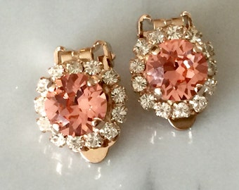 Rose Peach & Clear Swarovski Crystal Halo Clip On Earrings, Rose Gold