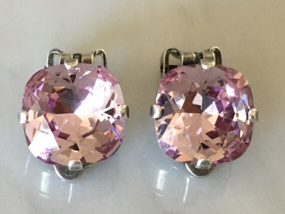 Light Amethyst Crystal Clip On Earrings, Antique Silver