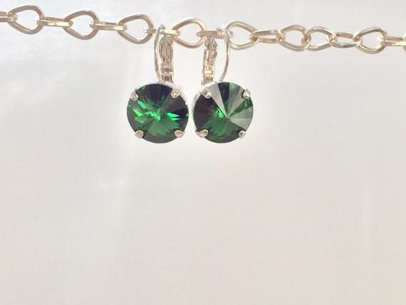 Dark Moss Green Crystal Earrings, Swarovski Dark Moss Green Earrings,  Swarovski Green Crystal Earrings, Bridesmaid Earrings