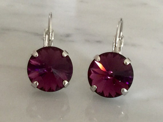 Amethyst Swarovski Crystal Earrings, Silver