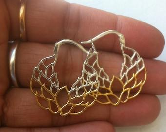 Lotus Hoops Earrings Sterling Silver Round Hoop Earrings 925 Carved Silver and Gold hoops Earrings Modern Vermeil Lotus Everyday Jewelry