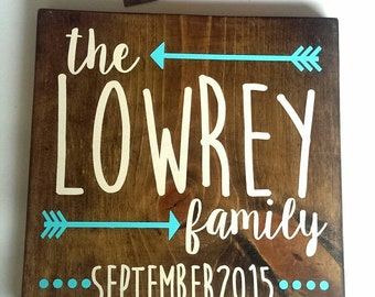 """Family Established Square Wood Sign 12""""x12"""""""