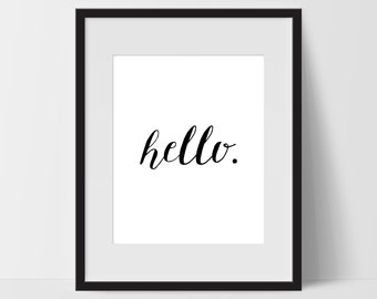 Hello Art Prints, Typography Wall Art, Hello Print Art, Hello Artwork, Hello Wall Decor, Dorm, Artwork, Hello Print, Black White