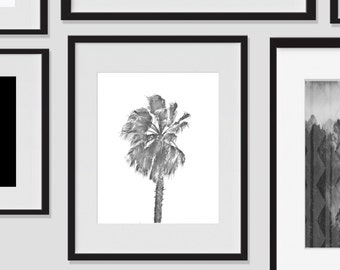 Wall Print Art, Palm Tree Art Printable, Palm Tree Decor, 8x10, Hawaiian, Tropical, Island, Wall Decor, Black and White, Modern, Photography